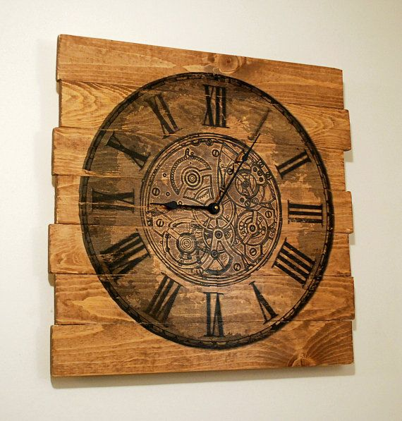 large wall clock chronograph design on stained distressed wood boards 25 quot x 25 quot handmade home