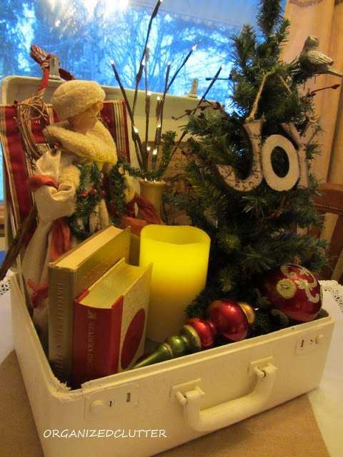 Christmas vignette in a vintage suitcase.
