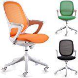 FineBuy Bürostuhl Schreibtischstuhl Stuhl Büro Farbe Orange Weiß Stoff Chefsessel Drehstuhl