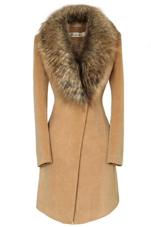 Oversize Faux Fur Collar Slim Coat - OASAP