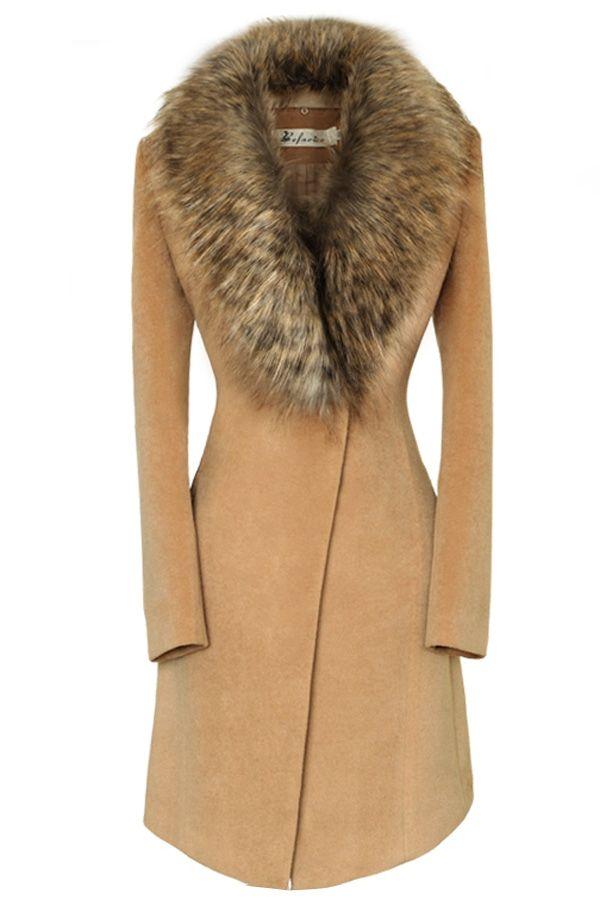 Oversize Faux Fur Collar Slim Coat - OASAP.com