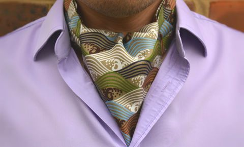 RAIDEN Printed Silk Cravat #cravat #ascot #tie #daycravat #silkcravat #silk #cravats #ascots #madeinengland #wedding #groom #groomswear #weddingideas #idea #grooms #style #weddingstyle #outfit #inspiration #weddingguest #guest #usher #ushers #buybritish #accessories #dapper #gentleman #cravatclub #japanese #waves #wavepattern #wave #japan #brown #earthy