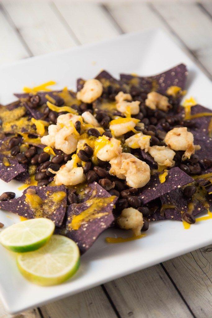 Garlic Shrimp Nachos on Quinoa Chips