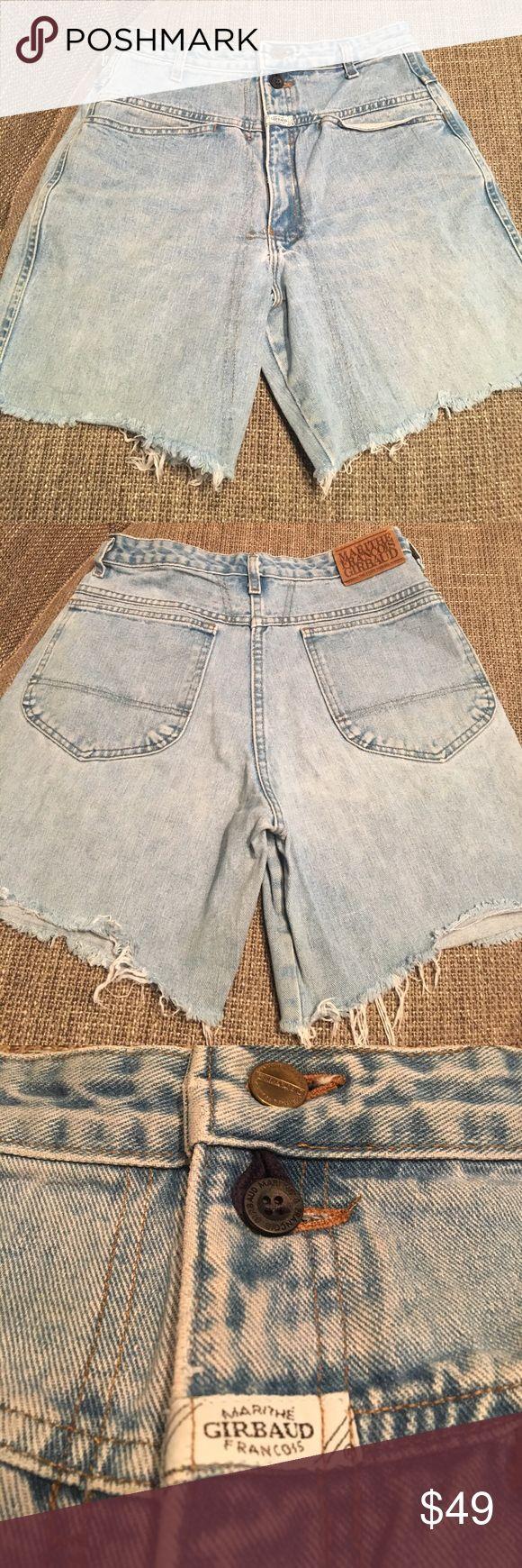 "Marithe Francois Girbaud vintage denim cut offs Girbaud vintage high waist denim shorts. Front yoke. Loop for second button closure. Inseam 6."". Rise 13"". Marithe Francois Girbaud Shorts Jean Shorts"