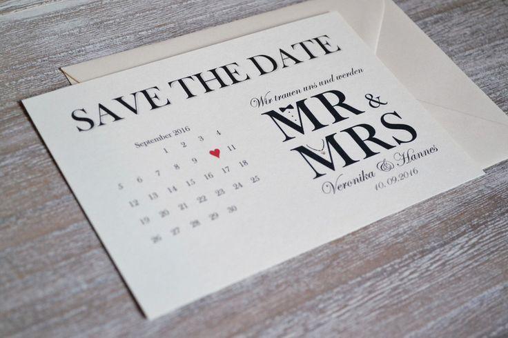 Einladungskarten - Save the Date Hochzeit Mr & Mrs Vintage creme - ein Designerstück von Velvet-Design bei DaWanda