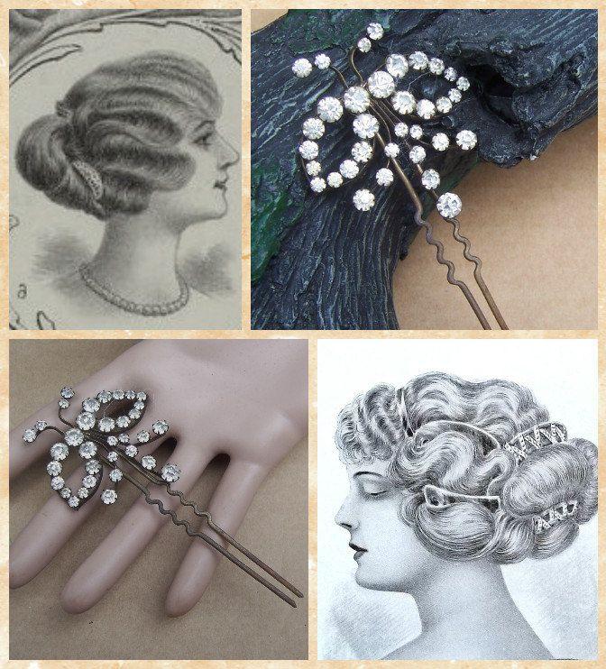 Vintage hair comb rhinestone bow shape hair pin by ElrondsEmporium