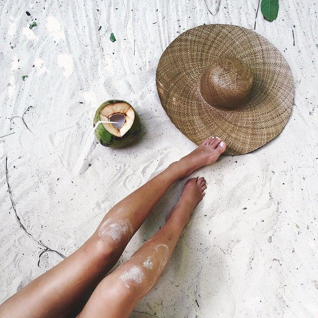 coconut water, sunhat and sunkissed skin