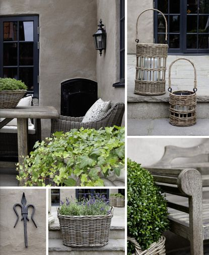 Outdoor living inspiration, weathered baskets and teak woods.