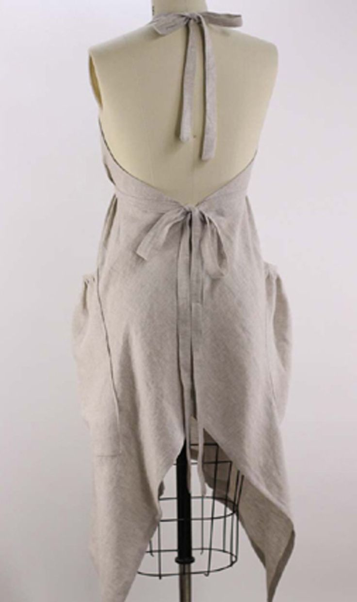 XS5X Hippy Apron in Oatmeal 100 Flax Linen Linen apron
