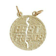 10 Karat Yellow Gold Round BEST FRIEND Charm Pendant with 1 chain Elite Jewels