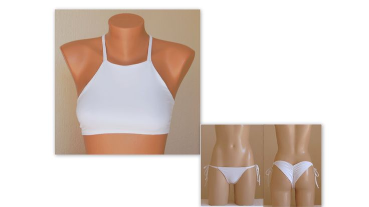 PADDED Solid white halter bikini top matching scrunch by bstyle