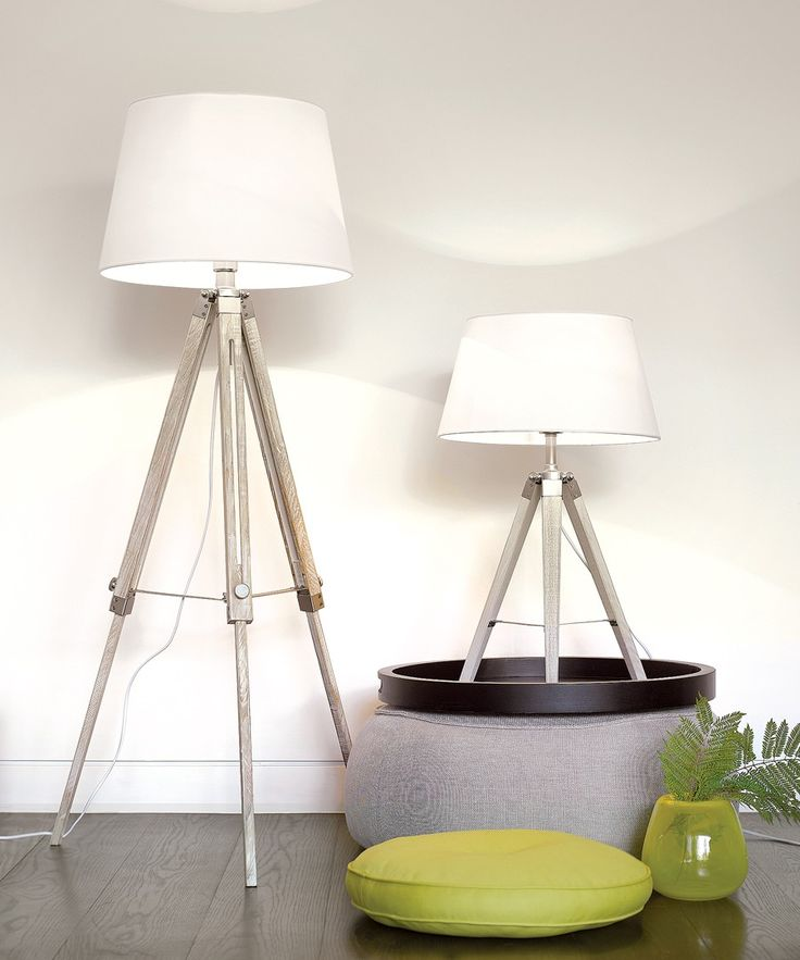 Chelsea Surveyors Floor Lamp in White Washed Timber/Chrome Detail