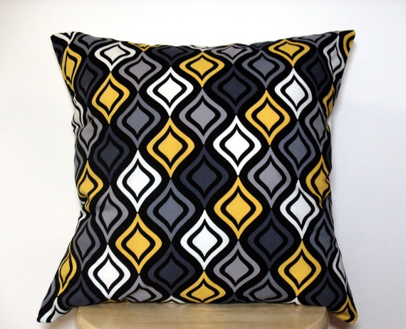 Yellow And Black Decorative Pillows : Decor Throw Pillow Cover Gray Yellow Black White Mix by jayciMay, $16.00 Decor Pinterest ...