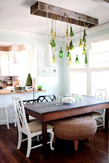 Inspired & Inexpensive: Kitchen / Dining Room    Love it. Wood, bottles, everything