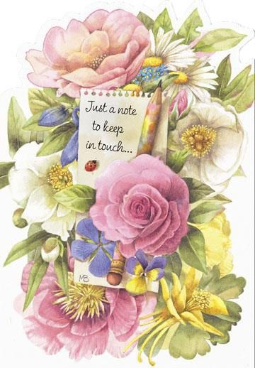 A beautiful bouquet greets its recipient on a card that lets someone special know you're thinking about them.