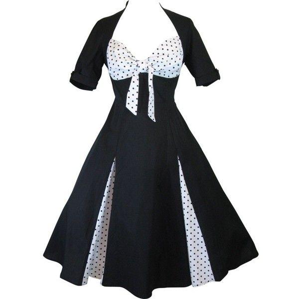 Skelapparel 50's Black and White Polka Dot Party Swing Dress ($65) via Polyvore