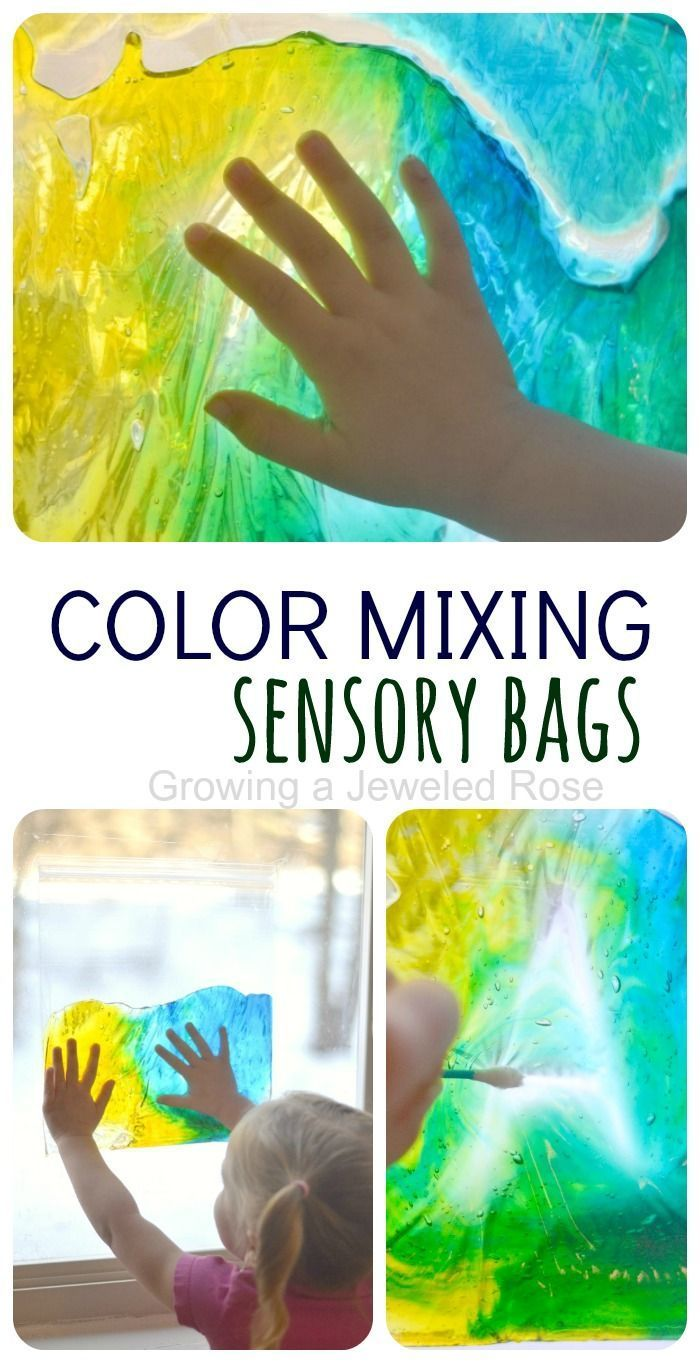 Color Mixing Sensory Bags- easy to make, mess free, fun, and educational! I love that you can see all three colors at once ; such a great way to teach color mixing!