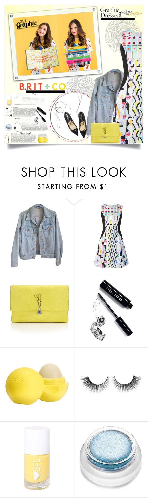 """""""Get Graphic With Brit + Co."""" by alves-nogueira ❤ liked on Polyvore featuring American Apparel, Peter Pilotto, BRIT*, Wallis, Bobbi Brown Cosmetics, Eos, Rimini, rms beauty, contestentry and polyvoreeditorial"""
