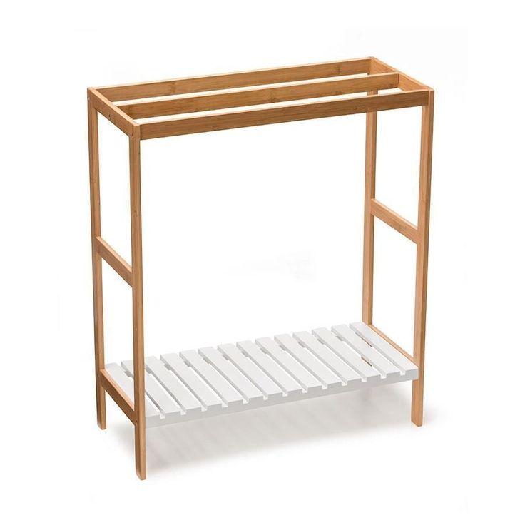 3 x Rail Bamboo Wood Towel Rack & White Wooden Shelf Free Standing Storage Stand