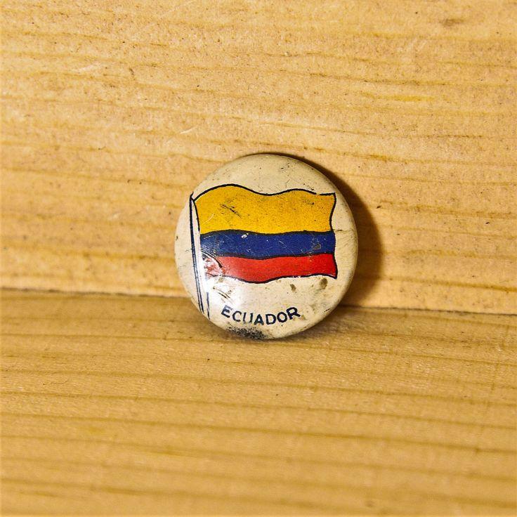 Old Vintage Ecuador Flag Button Pin- Ecuador Flag Button Badge Brooch Greenduck Co- Collectible Country Flag South America Souvenir Pinback