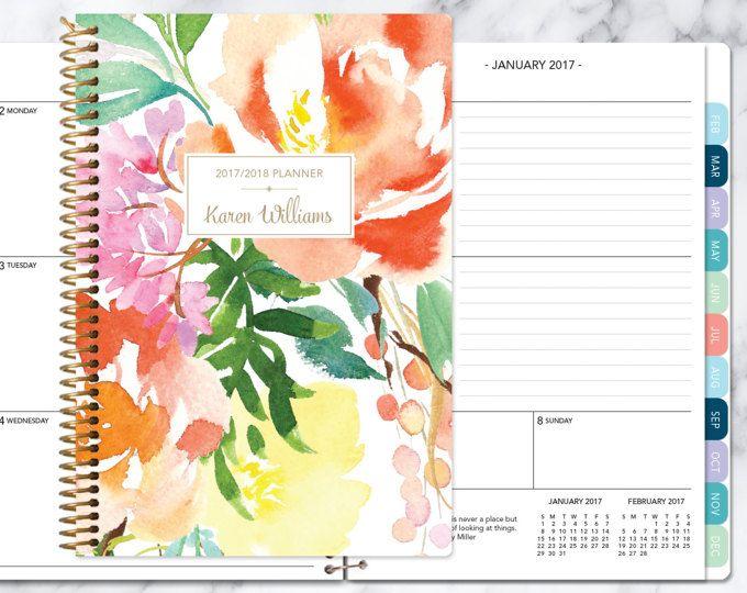 2017 2018 planner kalender Kies start maand | maandelijkse tabbladen per student planner gepersonaliseerde agenda toevoegen | Citrus aquarel bloemen