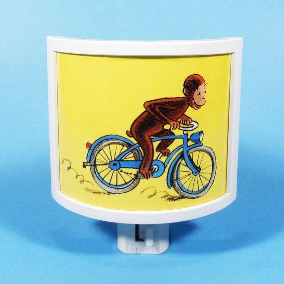 Curious George Rides A Bike Vintage Kids Book Night Light Cute Nursery  Bathroom Hallway Bedroom TAKE IT With