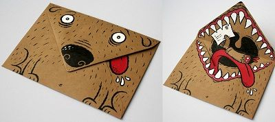 What an artistic, creative, funny way to decorate an envelope for a birthday card or special letter!