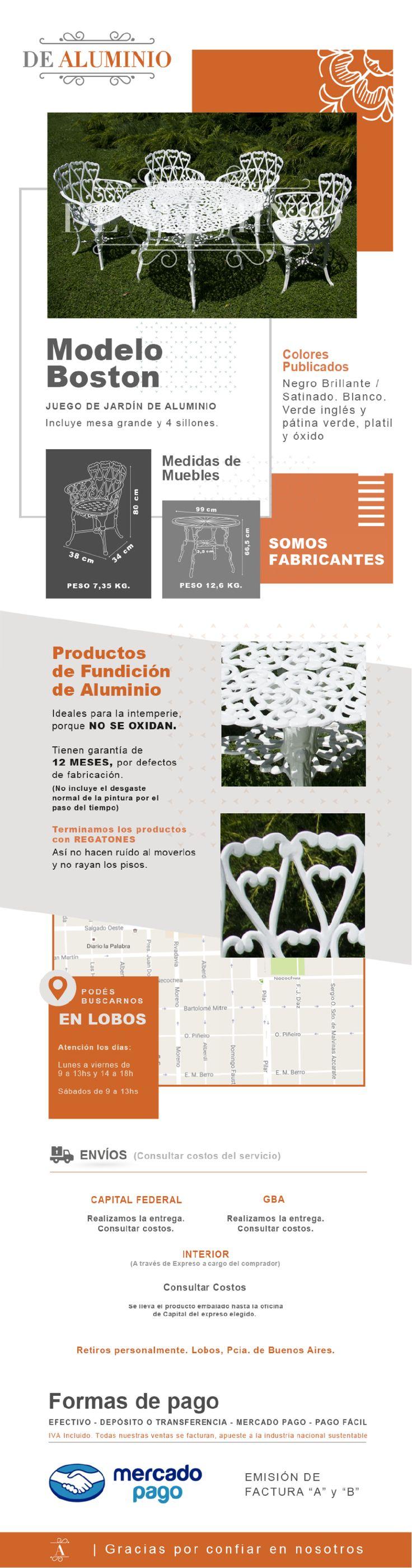 Juego Jardín Exterior Aluminio Boston Mesa 1 Mt Y 4 Sillas - $ 9.520,00 en Mercado Libre