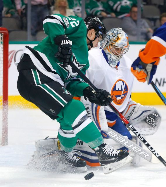 Islanders vs. Stars:  March 2, 2017  -  The Islanders beat the Dallas Stars, 5-4, on Thursday night at American Airlines Center in Dallas:  By NEWSDAY.COM  -     Dallas Stars right wing Jiri Hudler (22) tries to get the puck past New York Islanders goalie Thomas Greiss (1) during the first period on Thursday, March 2, 2017 at the American Airlines Center in Dallas, Texas.