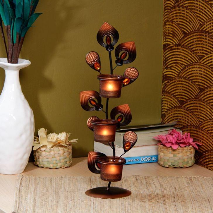 Aesthetics Glitter Candle Stand 3 Votives - FabFurnish.com#DiwaliDecor #FabFurnish