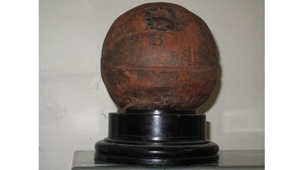 "Battle of the Somme Football kicked ""over the top"" on 1st July 1916 by Second Lieutenant C.W. Alcock of the East Surrey Regiment inscribed ""The Great European Cup-Tie Final. East Surreys v Bavarians. Kick off at zero."""