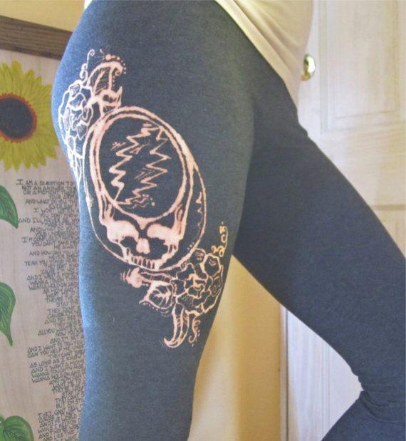 Grateful Dead Leggings - Steal Your Face Design - Hand Bleached Hippie Leggings