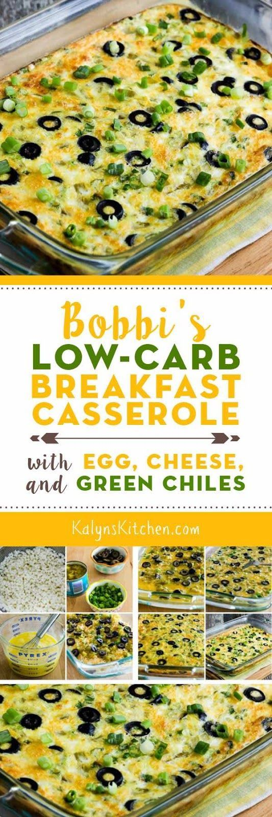 Bobbi's Low-Carb Breakfast Casserole with Egg, Cheese, and Green Chiles was adapted slightly from a recipe I got from my step-sister Bobbi, and the addition of cottage cheese makes this especially high in protein. It's also low-carb, Keto, low-glycemic, gluten-free, meatless, and South Beach Diet friendly. And this is delicious; I like it with my favorite Greek Tabasco Sauce! [from KalynsKitchen.com] #LowCarbBreakfastCasserole #LowCarbHighProteinBreakfastCasserole #EggGreenChileCasserole
