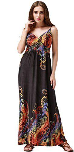 21062a2be99 Wantdo Femme Robe de Soirée Imprimée à Bretelle Bohème Grande Taille Robe  Longue pour Été Or 52