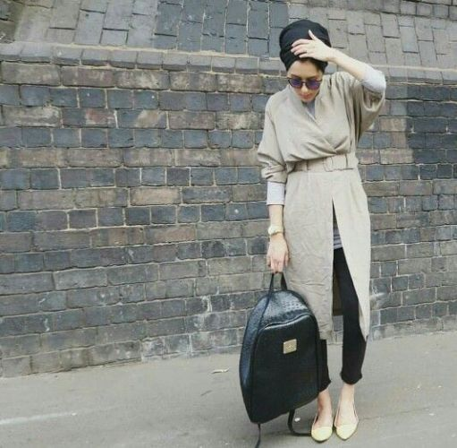 beige hijab style outfit