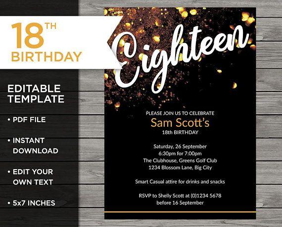 Gold 18th Birthday 18th Birthday Invitation 18th Birthday Invitation Template 18th Birthday Birthday Invitation Templates 18th Birthday Invitation Template