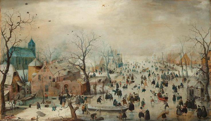 Winterlandschap met schaatsers, Hendrick Avercamp, ca. 1608