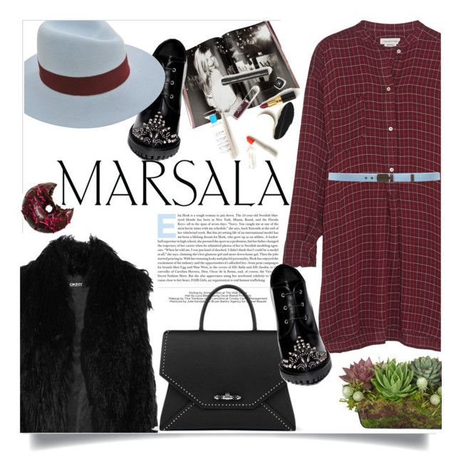 """""""Marsala dress"""" by little-curly-juli ❤ liked on Polyvore featuring Étoile Isabel Marant, DKNY, Taschen, Alexander McQueen, Maison Michel, Balmain, Givenchy, MSGM and Jayson Home"""