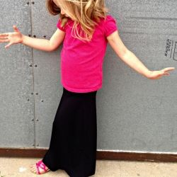 A pair of gauchos get new life as a kids maxi skirt in this easy tutorial.