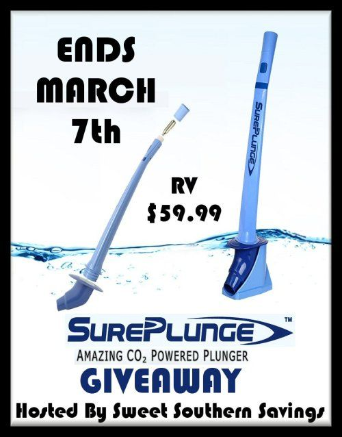 "(3/7/18) SurePlunge Amazing CO2 Powered Plunger #Giveaway End March 7th. Enter to #WIN this awesome#home #DIY #Prize TODAY! #ContestAlert #Sweeps <a href=""https://www.sweetsouthernsavings.com/sureplunge-amazing-co2-powered-plunger-giveaway/"" target=""_blank"">https://www.sweetsouthernsavings.com/sureplunge-amazing-co2-powered-plunger-giveaway/</a>"