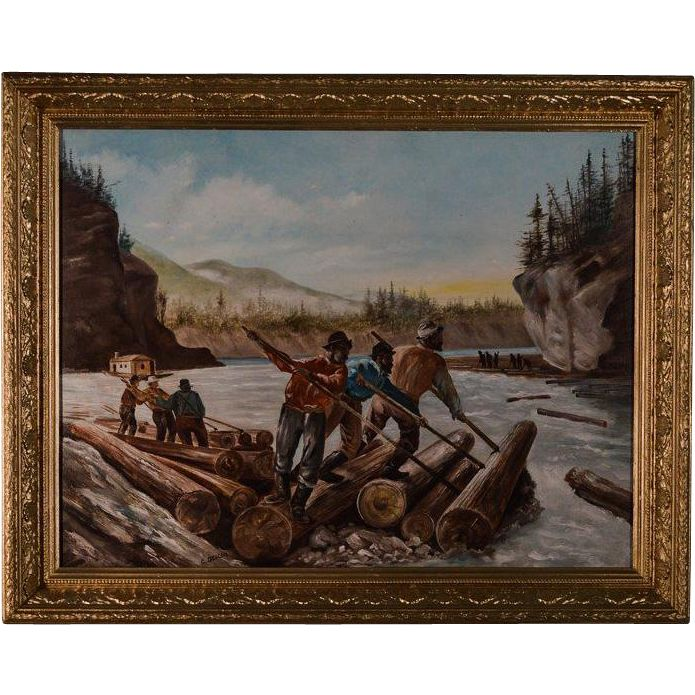 Painting of AFRICAN AMERICAN LUMBERJACKS - Log Rolling by C. Deacon, from therecklessnecklace on Ruby Lane