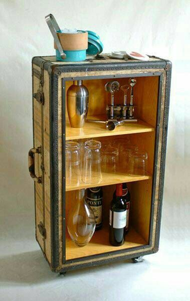 Steampunk Bar, Side table by Chinopunk on Etsy   $200.00 Neat little storage item. Older suitcase converted into storage with shelves and a glass front.  https://www.etsy.com/listing/254589797/steampunk-bar-side-table