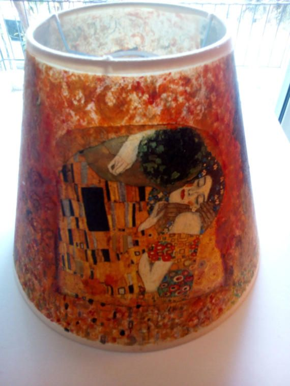 Lamp shade decoupaged famous Gustav Klimt  the by mademeathens