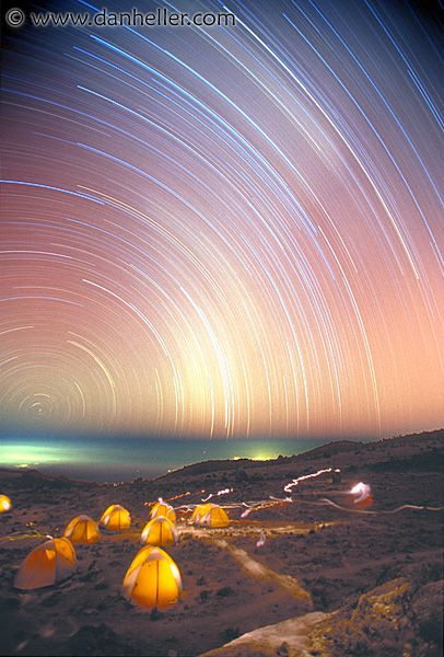 kili-stars.jpg africa, images, kilimanjaro, mountains, nite, star trails, stars, tanzania, vertical
