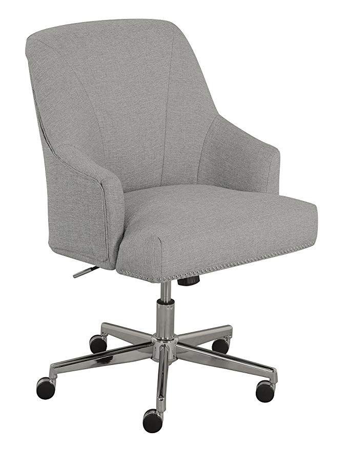 Amazon Com Serta Leighton Home Office Chair Light Gray Kitchen