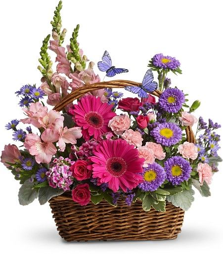 baskets for floral arrangements | Flower Birthday Basket Arrangement listed in: unique birthday flower ...