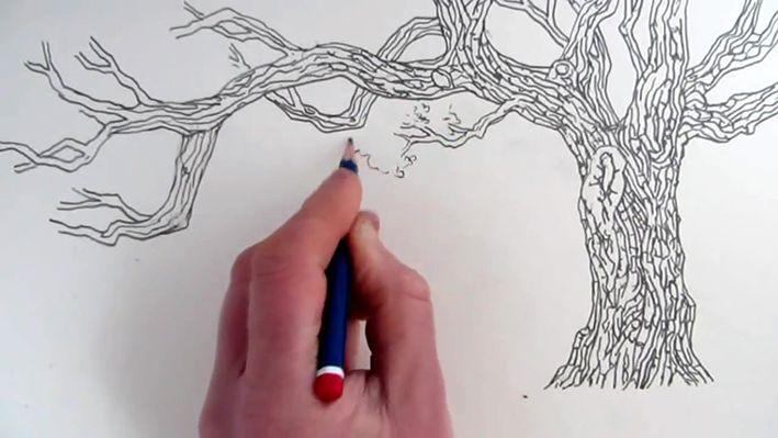 Karakalem Aşamalı Ağaç Çizimi Yapılışı (15)