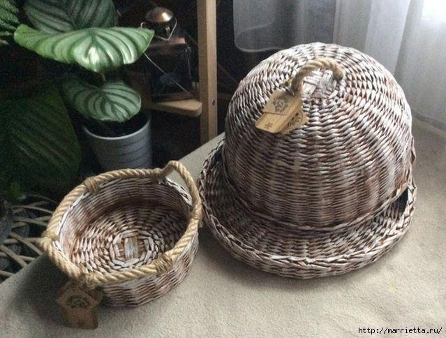 плетеная конфетница с крышкой из газетных трубочек рук), картофельное