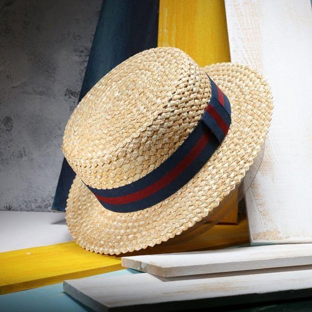 7b44691c9e3cf 2017 Nuevo Verano Paja Natural Sombrero Para El Sol Para Las Mujeres  Hombres Moda Playa Sombreros de Las Señoras Plana Sombrero De Vacacio…