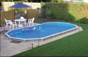 Semi Inground Pool Ideas semi in ground swimming pool design plans Pavers With Pool Sticking Out Dont Like Pool Possibilities Pinterest Swimming Pools And White Picket Fence